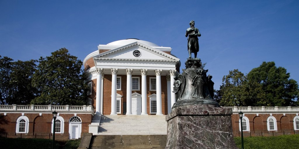 Thomas Jefferson in front of Rotunda of the University he founded